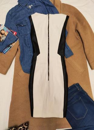 Платье белое с чёрной экокожей миди классическое на подкладке h&m2 фото