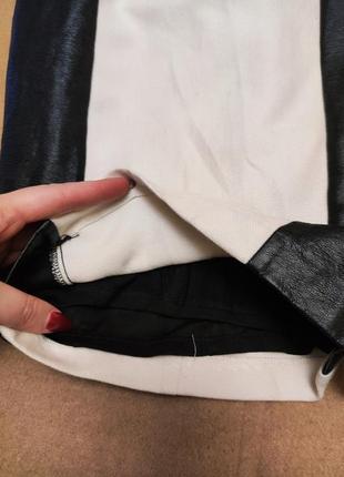 Платье белое с чёрной экокожей миди классическое на подкладке h&m4 фото