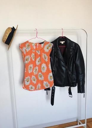 Красивая оранжевая блузочка под шифон без рукавов в ромашки от dorothy perkins