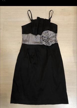 Чёрное серебристое вечернее платье asos бант