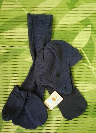 Демисезонный комплект для малыша до года шапка, шарф варежки 48-50.