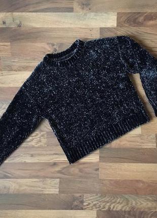 Стильный темно-синий мягкий свитер