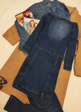Джинсовое платье синее голубое прямое с карманами хлопковое denim