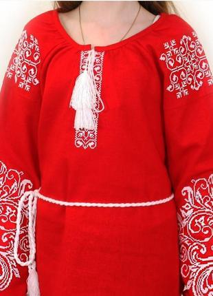 Красная блуза - вышиванка женская