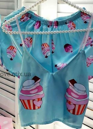 💣 новинка 💣 пижама женская атласный комплект шелковый атласная пирожное полиция лисички