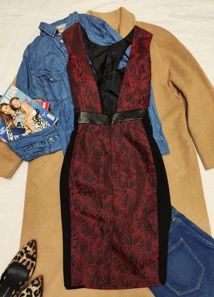 Платье красное чёрное миди со вставками экокожи футляр карандаш миди асос3 фото