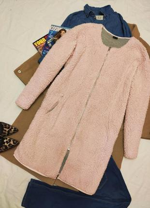 Шуба шубка розовая с карманами на молнии тедди плюшевая чебурашка искусственная