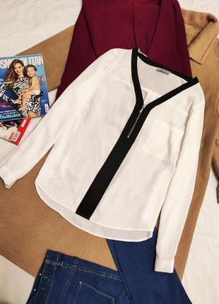 Блузка рубашка блуза шифоновая чёрная белая свободная оверсайз papaya