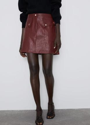 Новая кожаная юбка zara2 фото