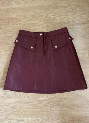 Новая кожаная юбка zara6 фото