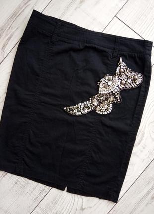 Чёрная базовая юбка миди украшение в подарок!