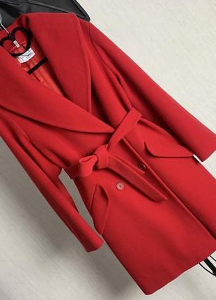Невероятно шикарное красное пальто heine кашемир , шерсть скидка
