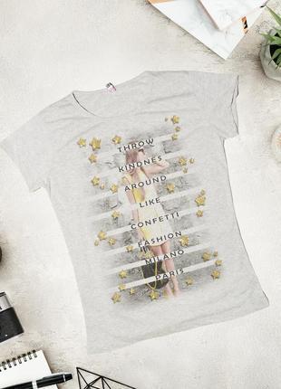 Серая футболка с принтом msk moda
