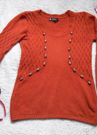 Теплый шерстяной свитер / джемпер кирпичного цвета