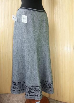 Шерстяная тёплая юбка  колокол с шелковой подкладкой  и вышивкой gerry weber2