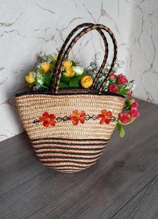 Соломенная сумка-корзинка детская