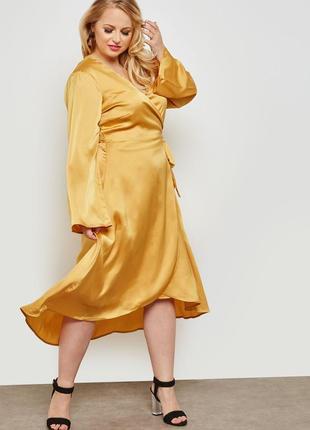 Сатиновое платье на запах с v-образным вырезом lost ink p.16-18 большой размер