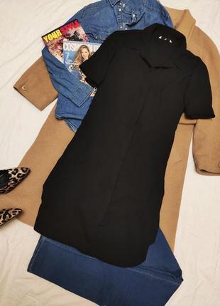 Платье рубашка чёрное с карманами шифоновое оверсайз свободное на пуговицах миди tu