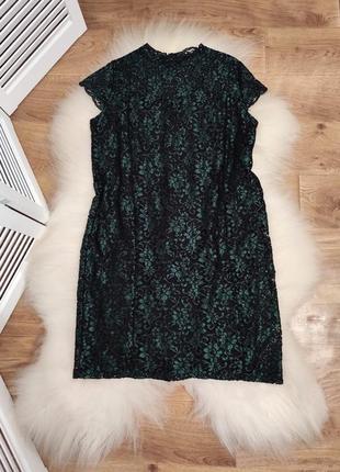 Красивое кружевное платье темно-зеленого цвета, р. 18.
