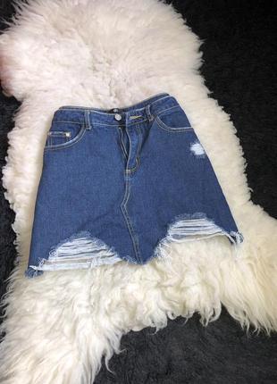 Джинсовая юбка трапеция рваная дыры джинс плотный рваности