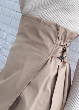 Яркая юбка на запах миди тренд высокая посадка талия