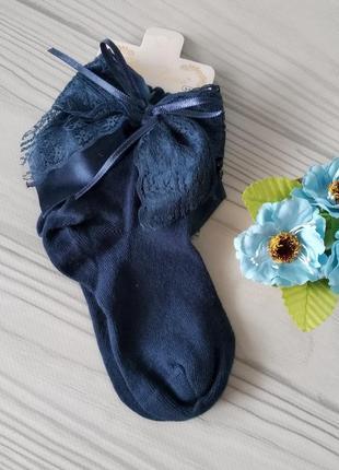 Синие нарядные носки на девочек. турция