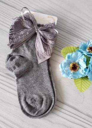 Серые носки с бантиками. турция