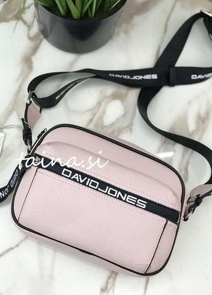 Клатч пудровый david jones 5989-1t pink спортивная кросс боди сумка розовая