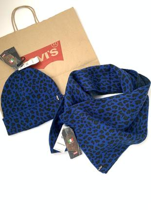Шапка, шарф, набор женский levi's левис оригинал