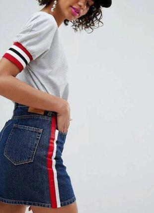 Джинсовая юбка с лампасами stradivarius denim skirt