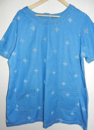 Интересная натуральная вышитая блуза большой размер
