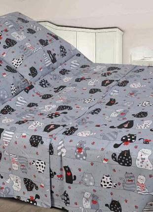 Полуторный постельный комплект мурчики в наличии