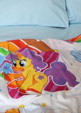 Полуторный постельный комплект пони радуга в наличии
