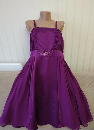 Вечернее сиреневое платье на тонких бретелях, р 16, идеальное состояние