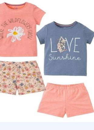 Пижама девочке летняя lupilu домашний костюм футболка и шорты 98/104 см