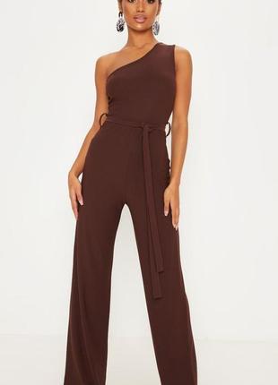 Шикарный коричневый комбинезон с брюками на одно плече prettylittlething