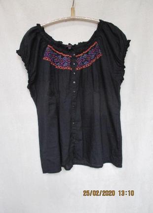 Тонкая хлопковая блузочка с вышивкой/батал uk 32/60-62+ рр