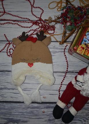 2 - 4 года 104 см обалденная зимняя шапка шапочка олень оленёнок