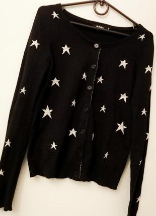Скидки к 8 марта! кофта чёрная кардиган со звёздами люрекс на пуговицах джемпер от colin's