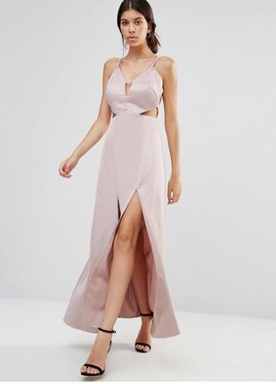 Роскошное вечернее платье макси с разрезами спереди и вырезами по бокам true decadence