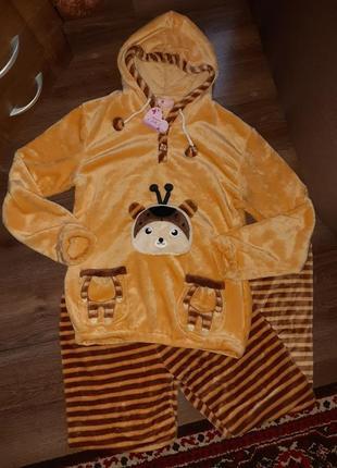 Теплая женская пижама, полотно 3d махра (вельсофт)