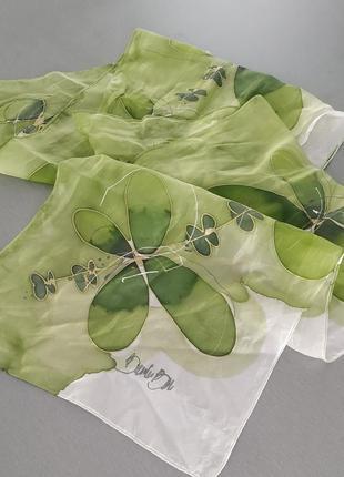 Шарфик зеленый из натурального шелка