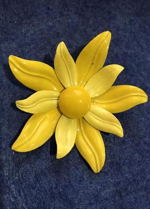 Брошь цветок, американский винтаж, эмаль