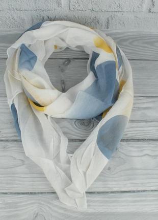 Итальянский шарф girandola 0001-125 белый, абстракция, коттон 80%, шелк 20%