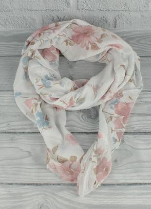 Итальянский шарф girandola 0001-126 белый цветочный, коттон 80%, шелк 20%