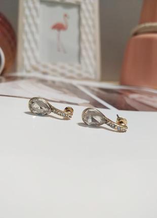 Нарядные серьги кластеры asos, золотистые сережки пусеты подвески с камнями, кульчики