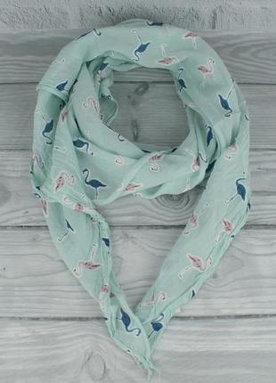 Итальянский шарф girandola 0001-129 бирюзовый с фламинго, коттон 80%, шелк 20%