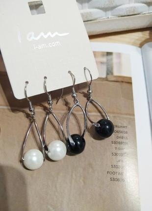 Серебристые серьги подвески i am, крученые сережки бусины черные белые кульчики