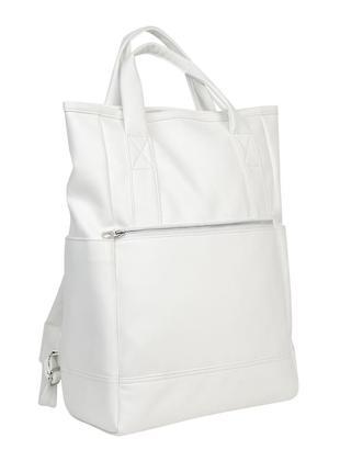 Жіночий білий рюкзак-шопер, екошкіра