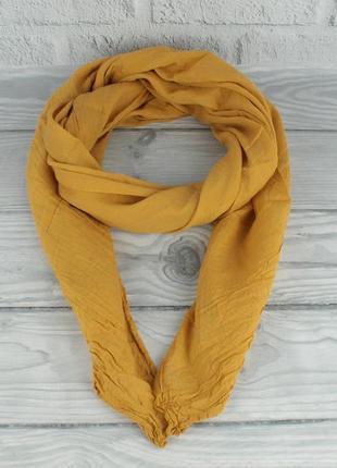 Итальянский шарф girandola 0001-132 горчичный однотонный, коттон 80%, шелк 20%